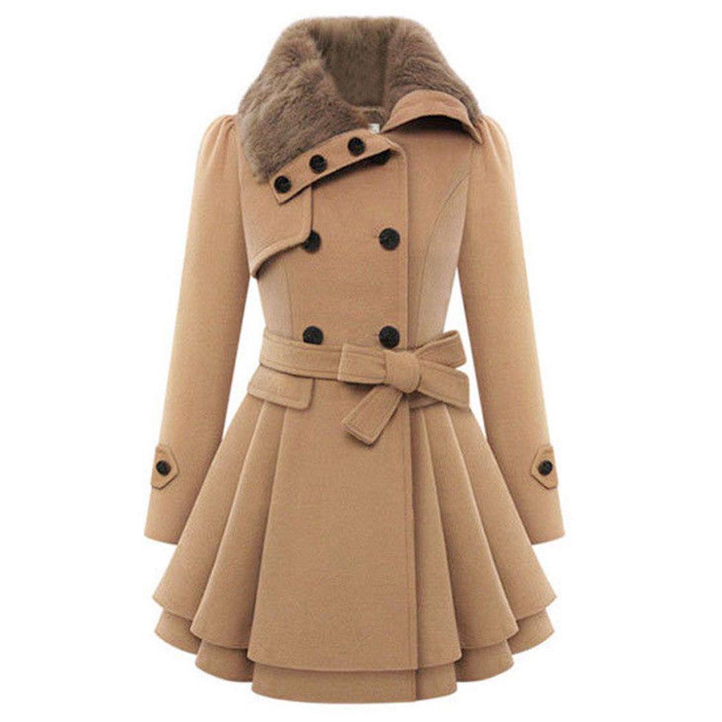 1e4696af73cc76 Großhandel Winter Wollmantel Frauen Dicken Mantel Warme Zweireiher Damen  Revers Wollmäntel Mit Gürtel Outwear Plus Größe A4 Von Bigseaa, $62.66 Auf  De.