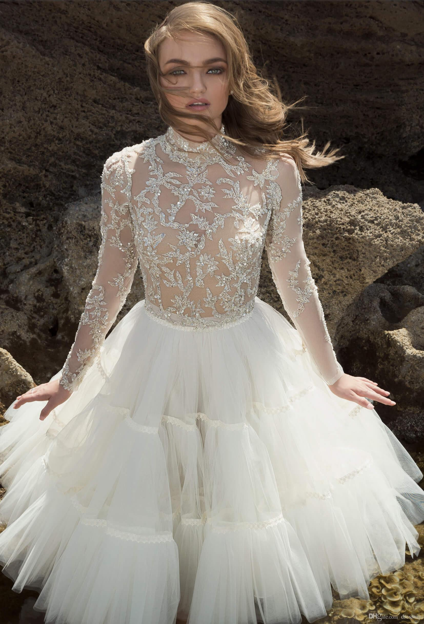 2018 Dany Mizrachi Short Wedding Dresses High Neck Lace Tulle Applique Sequins Illusion Beach Wedding Gowns Sexy Long Sleeve Bridal Dress