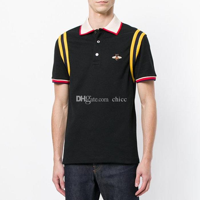 Yeni gelmesi nakış arı yama polo Pamuk şerit t gömlek için adam İtalya tasarım marka kontrast yaka gömlek erkekler moda ow poloshirt