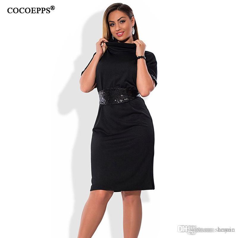 Wholesale- COCOEPPS Fashion casual Sequins women dresses big sizes  Turtleneck Dress plus size women clothing 5xl 6xl Short sleeve dress