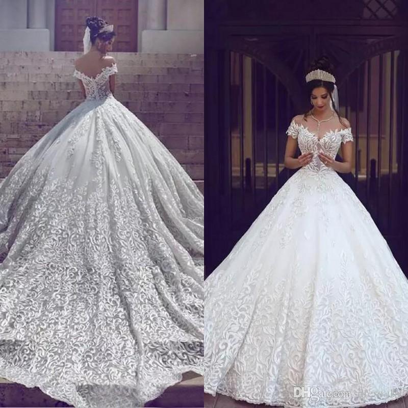 compre precioso 2018 apliques de encaje vestido de novia vestidos de