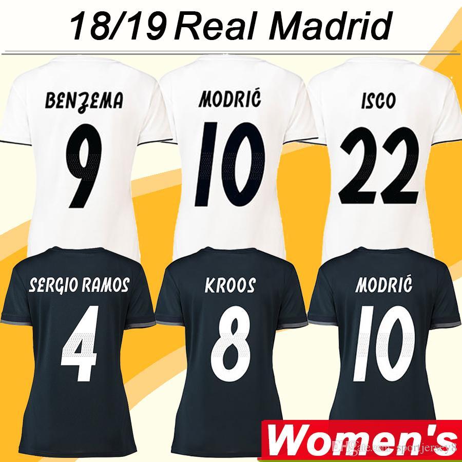 Acheter 2018 19 Real Madrid Femmes MODRIC VINICIUS JR Soccer Jerseys  Nouveau SERGIIO RAMOS KROOS BENZEMA MARCELO Domicile Extérieur Football  Chemises ISCO ... 6d15fb928f419