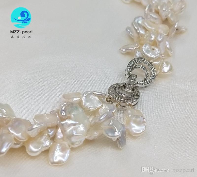 Natural de água doce keshi pérola Irregular em forma de barroco cor branca camadas colar para jóias de noiva