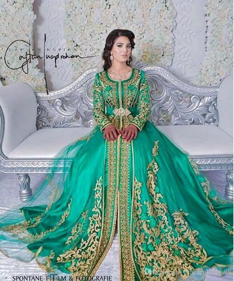 Acquista Abito Da Sera Formale Musulmano Con Maniche Lunghe Verde Smeraldo  Abaya Designs Abiti Da Sera Da Ballo Di Dubai Turchi Abiti Caftani  Marocchini A ... 61922eb60ed