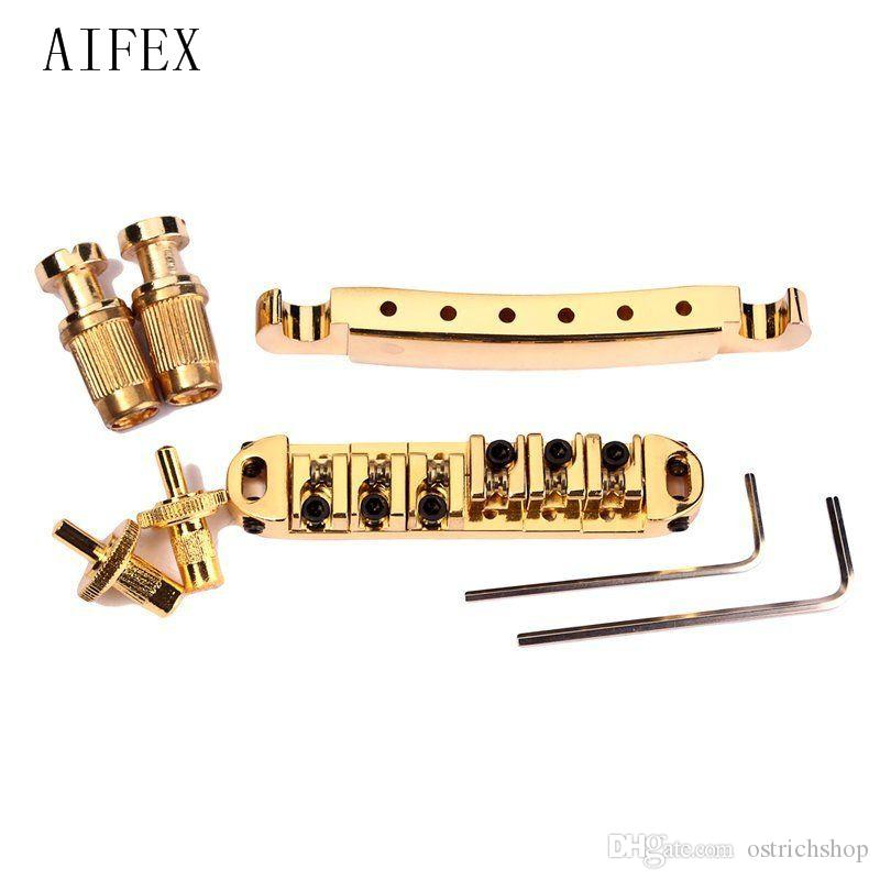 Products 2018 Gold Roller saddle Tune-O-Matic Electric Guitar Bridge Tailpiece Electric Guitar