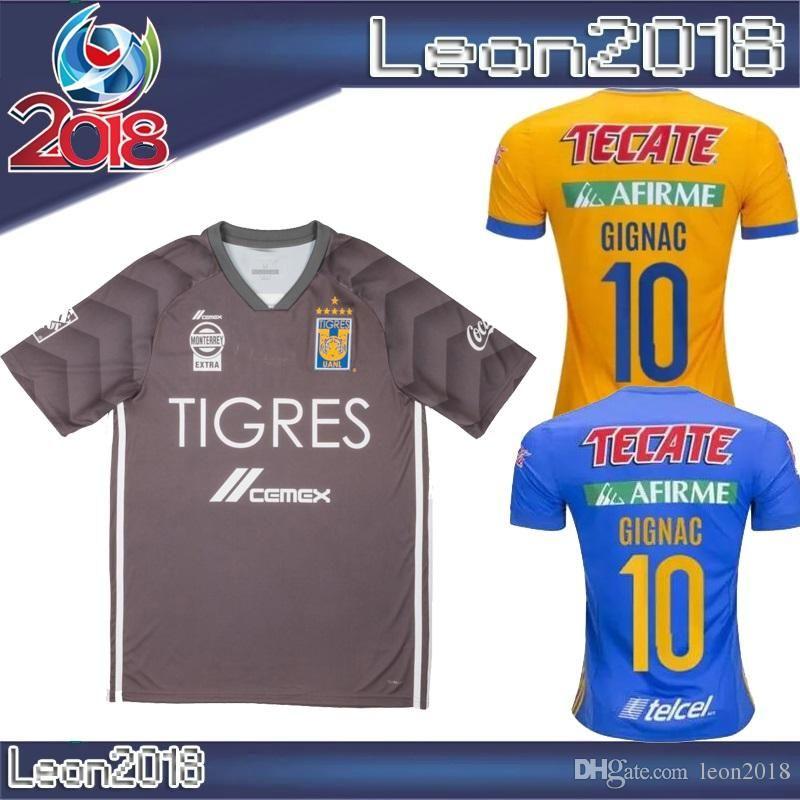 e51fcb4b5 2019 Best Thai Quality 2018 Tigres UANL Home Soccer Jersey GIGNAC 18 19  Mexico CHICHARITO G. DOS SANTOS Away Football Shirt From Skyyu2018