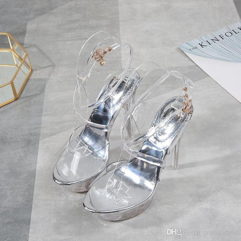 big size 35 to 40 41 42 43 silver transparent crystal PVC wedding shoes women designer high heels platform pumps pole dancing shoes