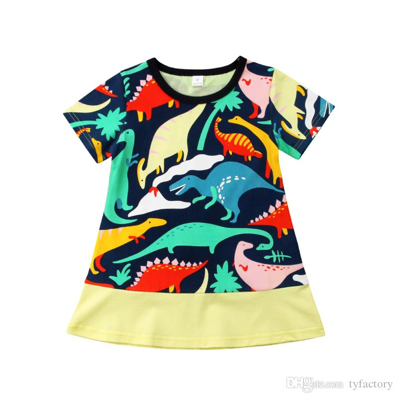 f19737d80 Kids Baby Girls Cartoon Colorful Dinosaurs Dresses Animal Short Sleeve Party  Dress Summer Children Clothing Boutique Kid Clothes 1-6Y Girls Dinosaur  Dress ...