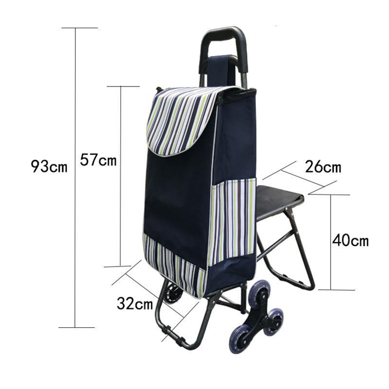 d2e07407490 Folding Trolley Shopping Cart  Bag 6 Wheel Trolley Car Large Capacity  Portable Climbing Building Shopping Cart Elderly With Seat Reusable Lunch Bags  Custom ...
