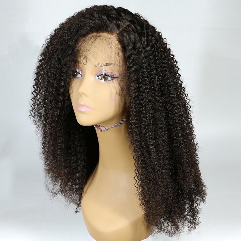 Melhor Qualidade Kinky Curly Lace Front Wigs 150% Densidade Barato Brasileira Virgem Do Laço Do Cabelo Humano Frente Perucas Para As Mulheres Negras