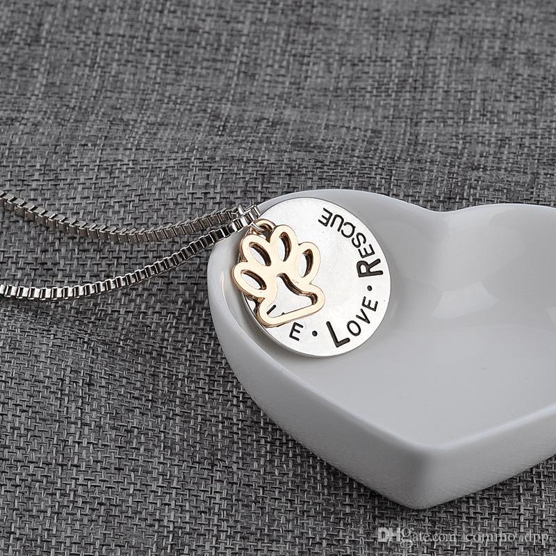 Novo Bonito Ao Vivo Resgate Amor Lettering Pingente de Colar de Animais Gato Cão Pata Imprimir personalizado colar Para mulheres s Moda Jóias
