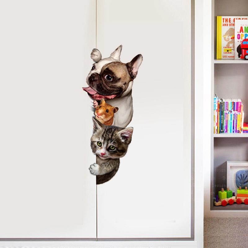funny 3d cat dog door wall sticker kids rooms living room home decor