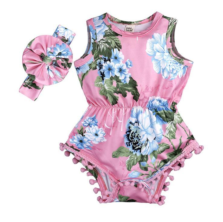 9a079fa3cd05 Infant Baby Girl Cotton Romper Jumpsuit Headband Clothes Outfit 0 ...