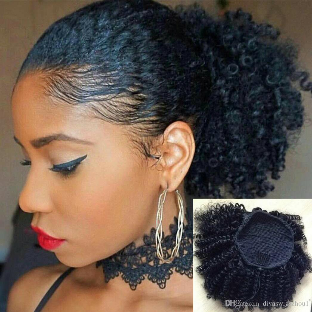 a603edb391f Tight Afro Kinky Curly Ponytails Extensions Mongolian Clip In Human Hair  Ponytails Natural Color 10 22 Inch 120g Sleek Curly Pony Tail Faux Hair  Ponytail ...