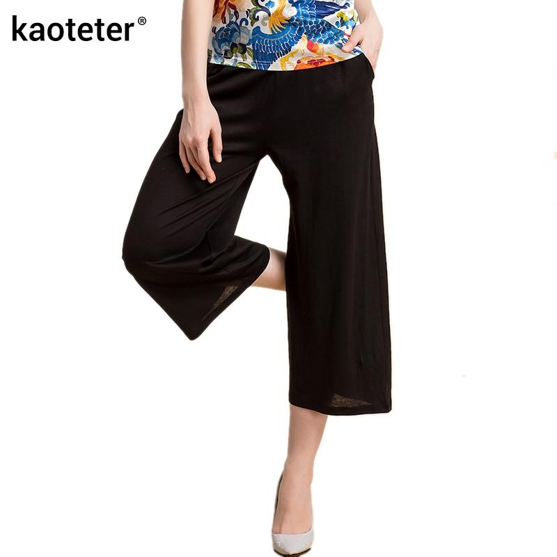 52c31e2dbc1 2019 50% Silk 50% Linen Women S Wide Leg Pants Women Loose Capris Black  Wild Knitted Female Casual Seven Calf Length Pants Woman From Sikaku