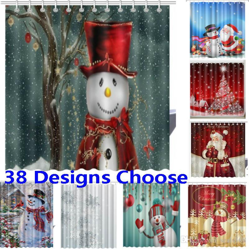 2019 Christmas Shower Curtains 3D New Waterproof Polyester Fabric Bathroom Curtain XMAS Decoration 165180cm 38 Designs HH7 230 From Seals168