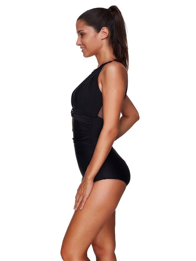 Claasic Black Women Swimwear Sexy Mesh One Piece Swimsuits Sheer Padded Monokini Ladies Beachwear Bathing Suit Plus Size XXXL