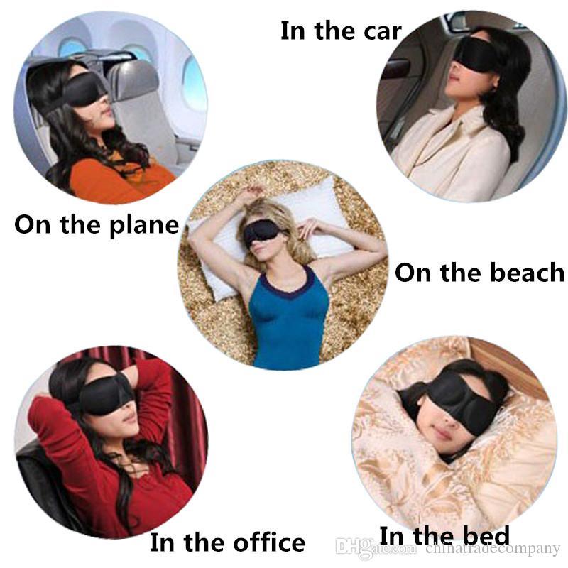 Viaje 3D Máscara de Ojos Dormir Suave Acolchado Sombra Cubierta Descansar Relajarse Dormir Venda de los ojos