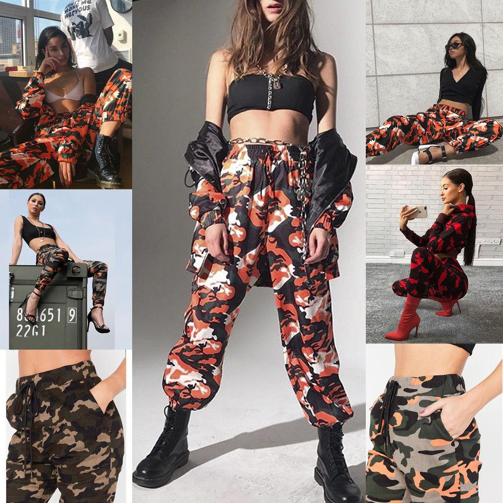 04fbc5145a3e0 2018 Summer New Style Fashion Women Camo Cargo Trousers Casual Pants Army  Combat Camouflage Jeans