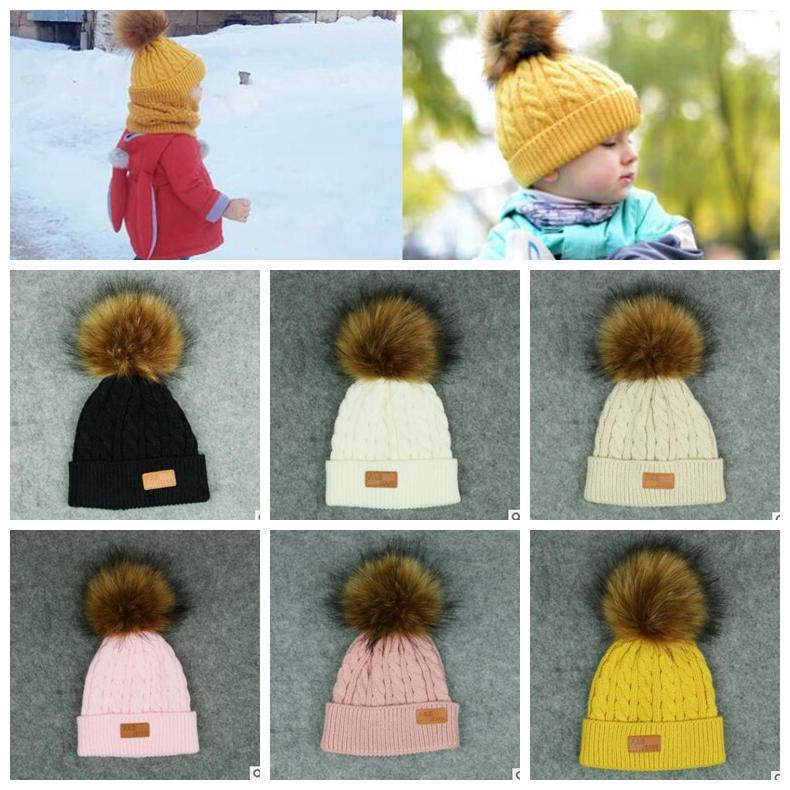 7 Farben Baby Pom Pom Beanie Kinder warme Winter häkeln Ski Cap Wolle Strickmütze Fell Bobble Hut Mode Kinder Mütze KKA5880
