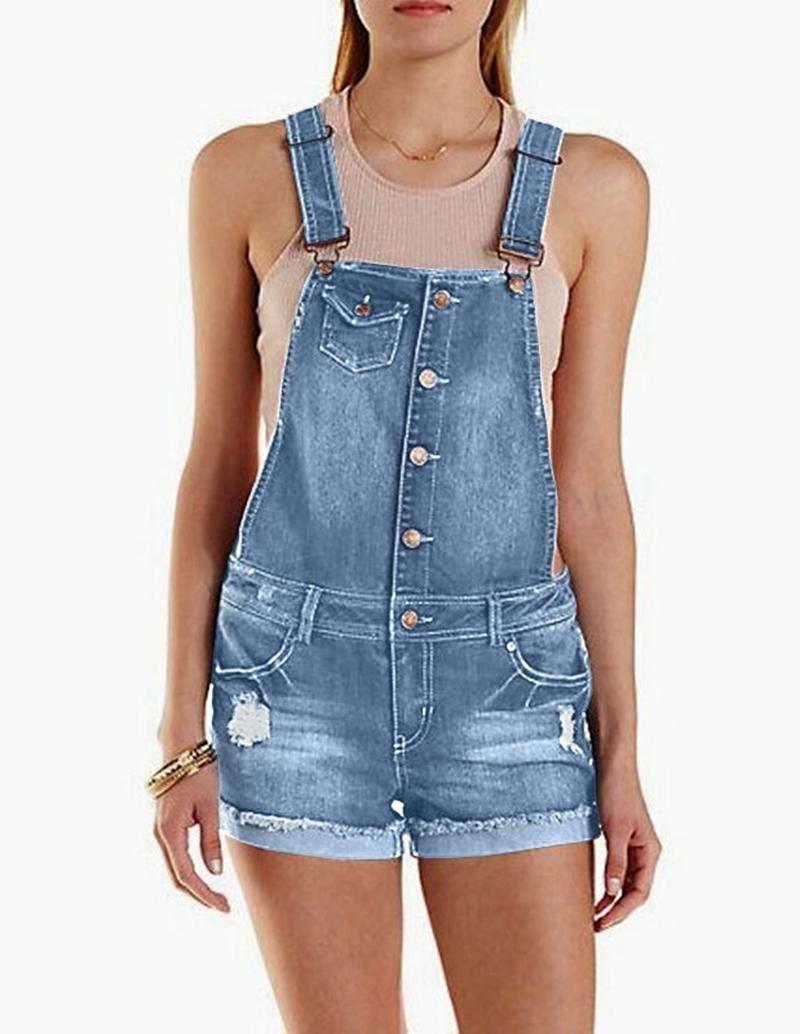 d6db8b31db3 2019 Women Ripped Denim Overalls Summer Casual Loose Bib Pants Girls Denim  Short Jumpsuits Rompers Plus Size From Cactuse