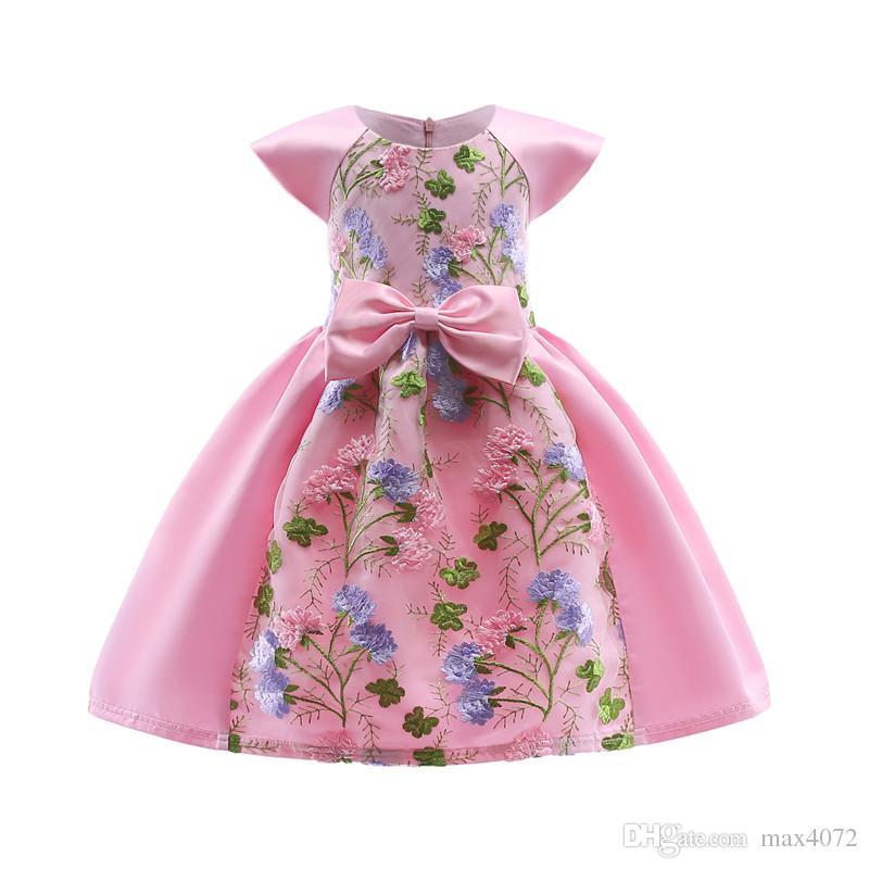 elegante Mädchen Blume Kleid Kurzarm Stickerei Bowtie Prinzessin Kleid für 3-10 Jahre Mädchen Kinder Kinder Party Dinner Performance Kleid