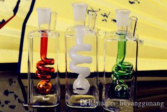 Square inner spring water bottle Wholesale Glass bongs Oil Burner Glass Water Pipes Oil Rigs Smoking Free