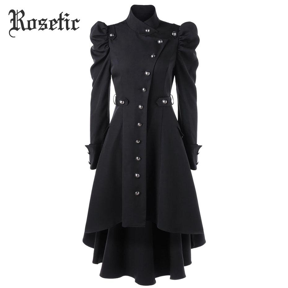 2018 Rosetic Gothic Women Autumn Winter Coat Long Trench Black Windbreaker  Coats Classic Black Color Dark Button Cotton Outerwear From Laftfly, ... 3f1ee02f5b4a