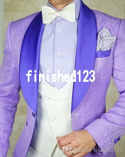 Homme Design Meilleur Pantalon De Groomsmen Pour Revers Hommesveste Élégant Bouton Mariage Groom Châle Un Violet Costumes Clair Tuxedos rtshQd