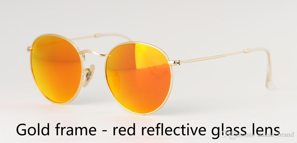 En kaliteli 3447 Yuvarlak Güneş gözlüğü Erkekler Kadınlar Marka Tasarımcı Metal Çerçeve cam Lens Sürüş Perakende kutu ve etiket ile UV400 Goggle gözlük