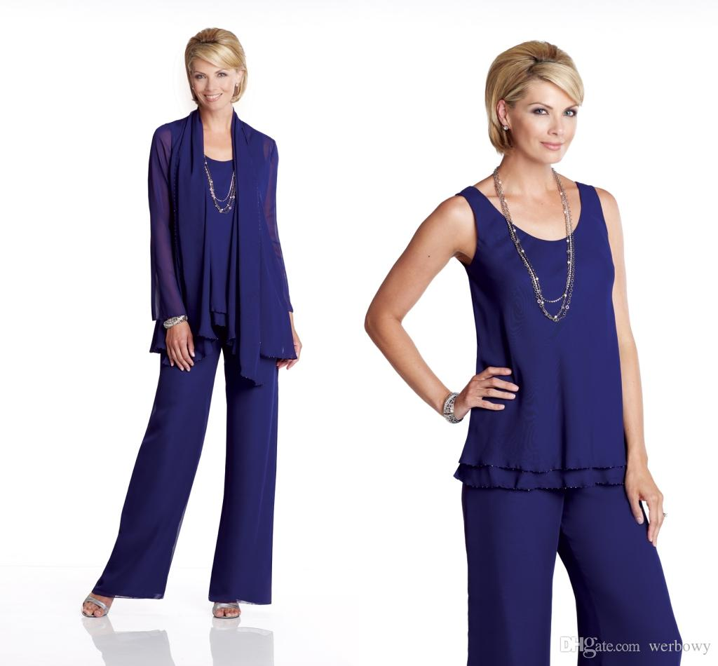 Chiffon Mother Of The Groom Bride Pant Suits Lady Mother