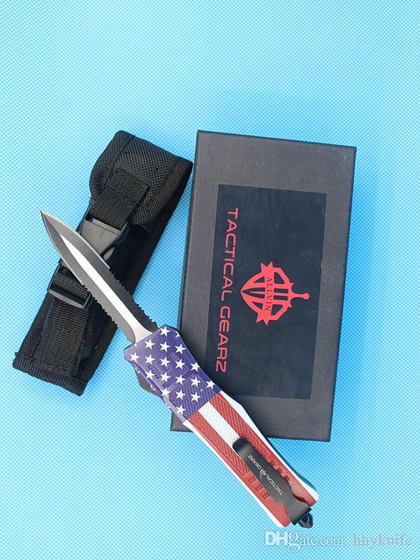 2018 nouveau drapeau 8,2 pouces moyenne 616 Auto Couteau tactique 440C Double Edge demi-dentelure Lame EDC Couteaux de poche Équipement de survie