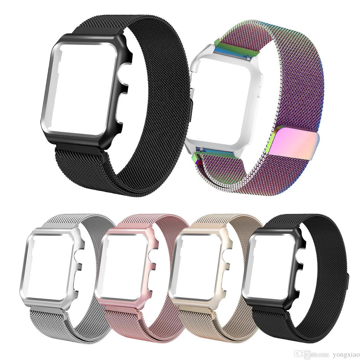 2f6f5512dae Compre Milanese Pulseira Alça Smartwatch Banda Para Apple Iwatch Série 1 2  Fecho Magnético De Aço Inoxidável Substituição Pulseira Com Case Frame  42 38 Mm ...