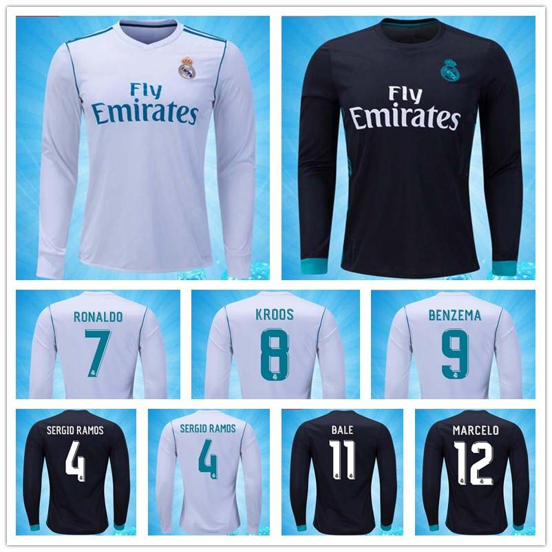 61683e819 Discount Cheap Thailand Long Sleeve Soccer Jersey Camisa Real Madrid Jersey  17 18 Ronaldo Sergio Ramos Isco Modric Madrid Jersey 2018 Football Shirt  From .