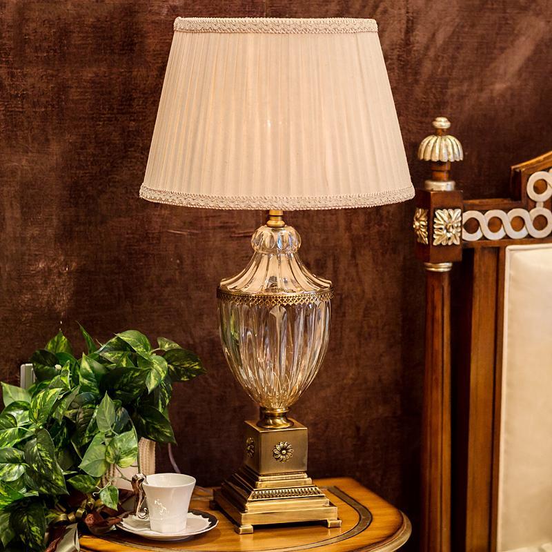 Lampada da tavolo moderna camera da letto in cristallo Paralume in tessuto  Decorazione soggiorno Abajur Lampada da tavolo per camera da letto Lamparas  ...