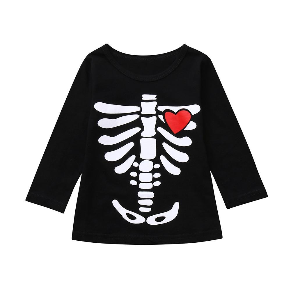 Compre Ropa Para Niños Niños Pequeños Bebés Bebés Niños Esqueleto Imprimir  Tops Trajes De Disfraces De Halloween Conjunto Camisetas Camisetas  ND A   35.96 ... 240769808c1cb