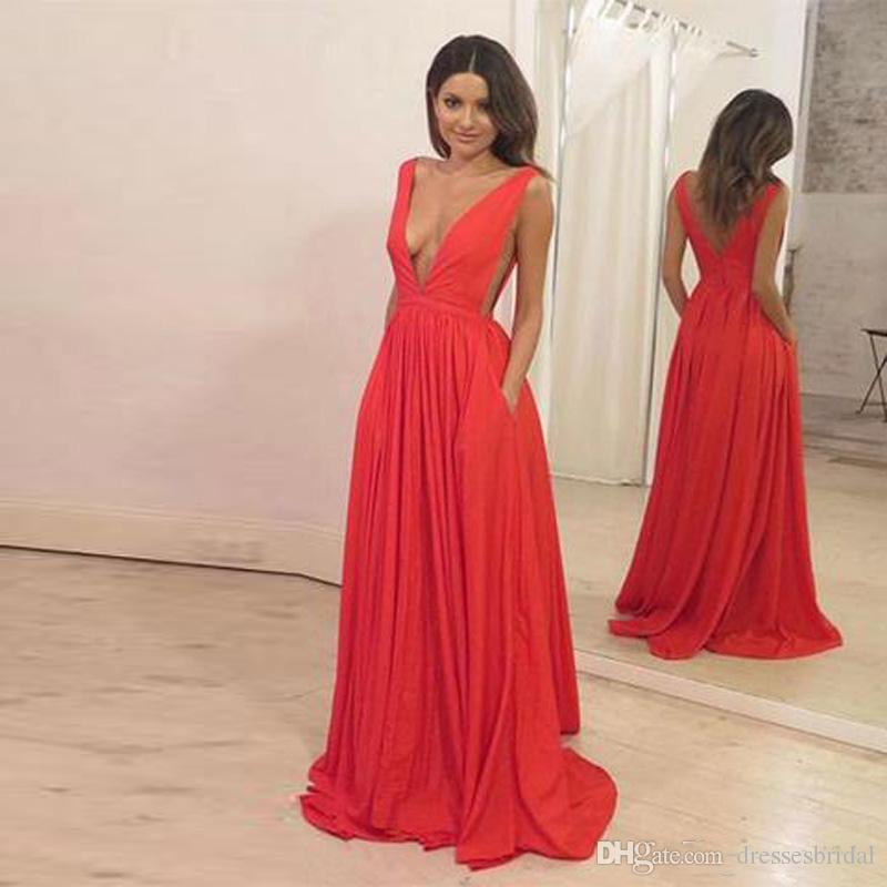 75abf20a836a9 Sexy Deep V-Neck Prom Dresses Long Cutaway Sides Sleeveless With Pleats  Backless A-Line Evening Gowns vestidos de fiesta