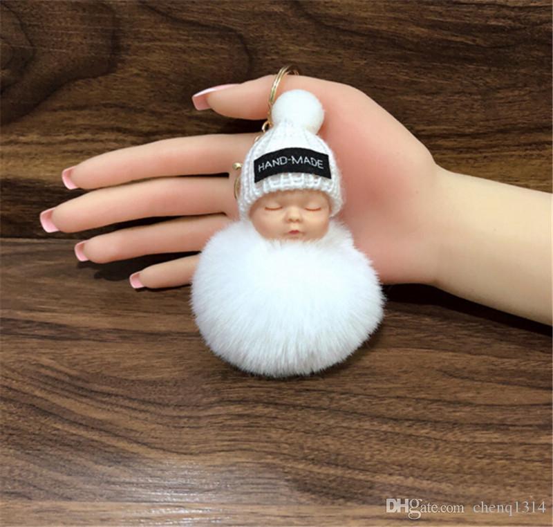 Cute Sleeping Baby Doll Schlüsselanhänger Pompom Kaninchenfell Ball ...
