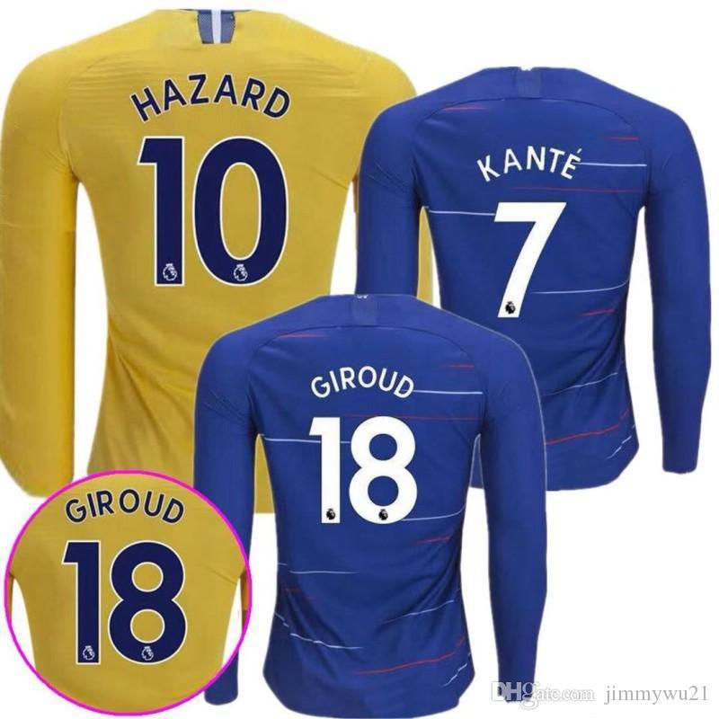 Compre 2018 2019 HAZARD Camisas De Futebol Em Casa Camisa De Futebol Camisa  De Manga Longa 18 19 Pedro KANTE Morata FABREGAS Camisa De Futebol Willian  David ... 2d997edcaa4f6