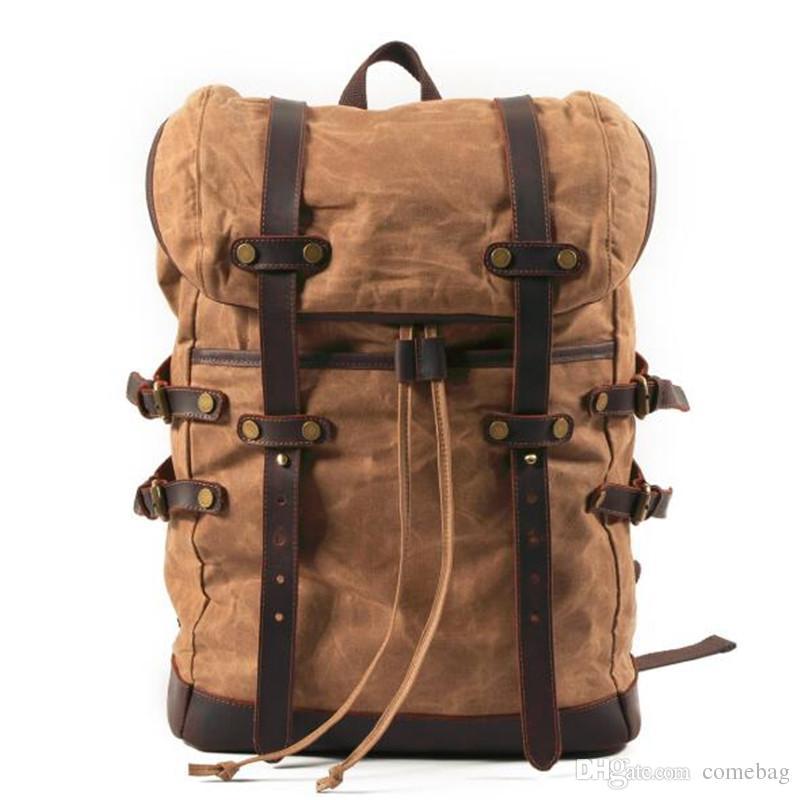 Retro Wax Waterproof Canvas Backpack Men Outdoor Travel Drawstring Bag  Student School Bag Rucksack Backpacks For Teens Cheap Backpacks From  Comebag e98bbc4fb4d72