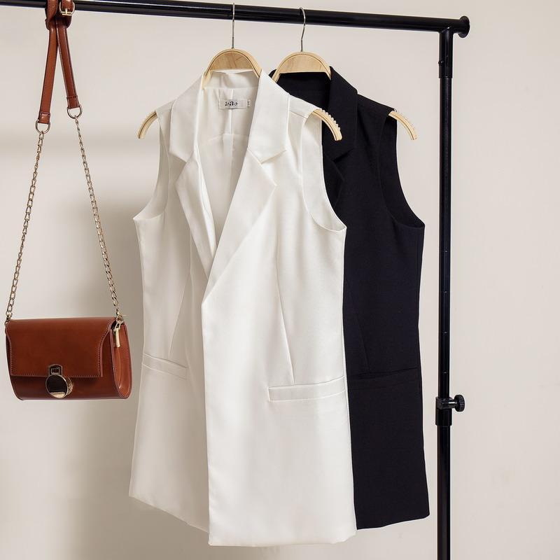 9dd011de96 Compre Nova Elegante Primavera   Verão Colete Blazer Mulheres Turn Down  Collar Terno Preto Branco Com Dois Bolsos Colete Feminino Jn436 De Donahua