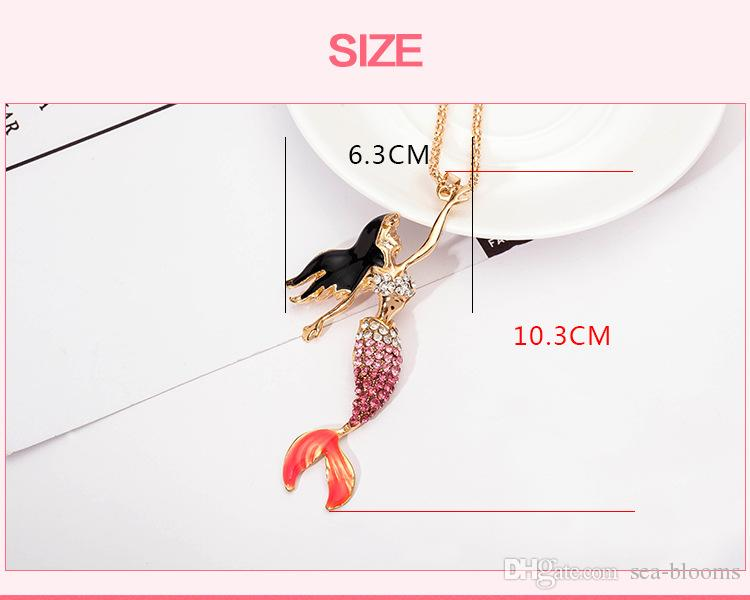 Oil Mermaid Necklace Sweater Chain Exquisite Flash Rhinestones Necklace Clothing Decor For Women New Fashion D776S