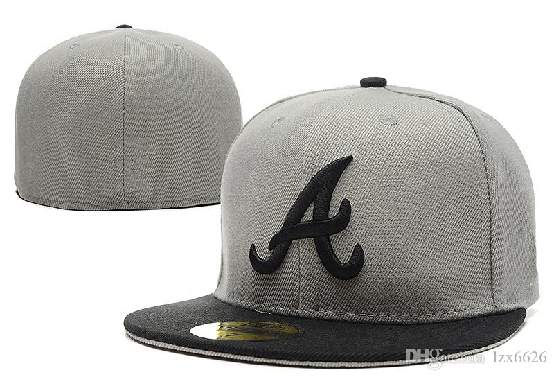One Piece Braves Fitted Baseball Hats Gray Top Black Brim Sports Team black Letter A Flat Full Closed Caps Bones