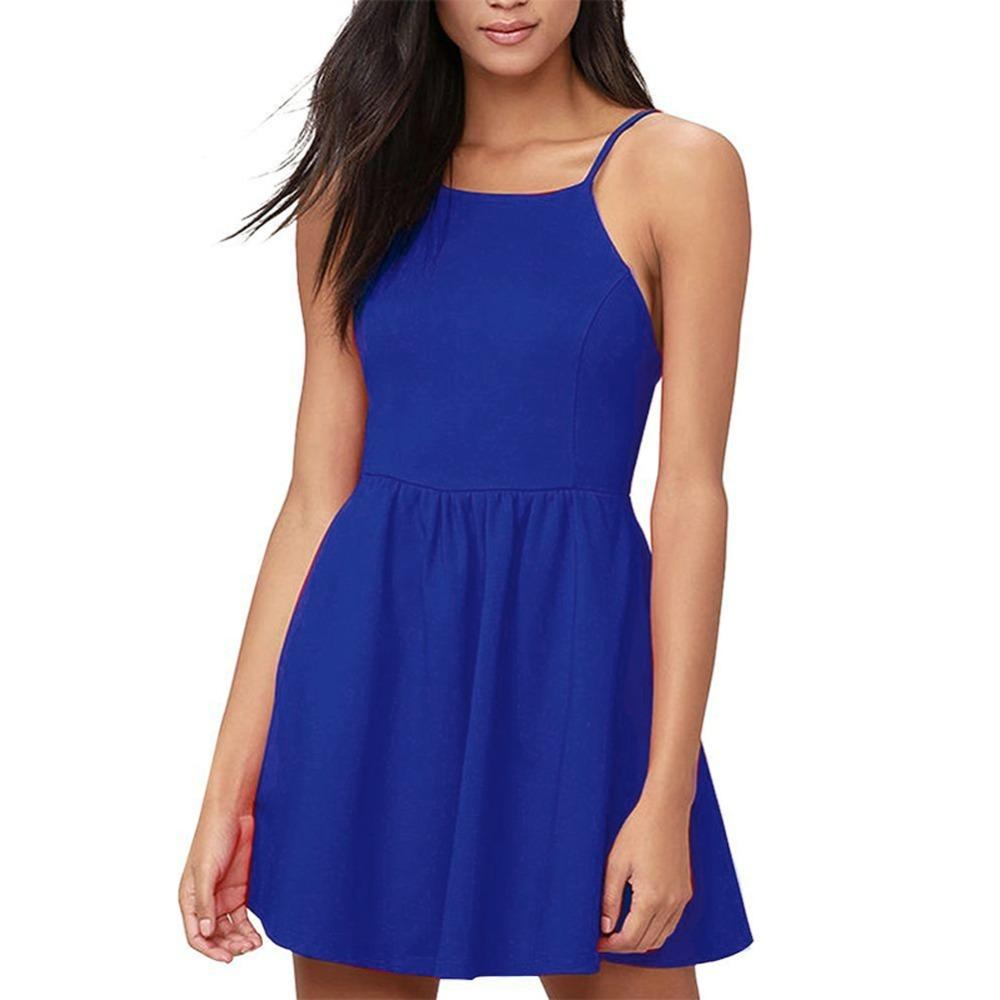 26b1e5705 2019 Summer Sexy Women Mini Slip Dress Backless Spaghetti Strap Solid  Sleeveless A Line Dress Floral Slim Ruched Skater Dress Petite Dresses  Evening Dress ...