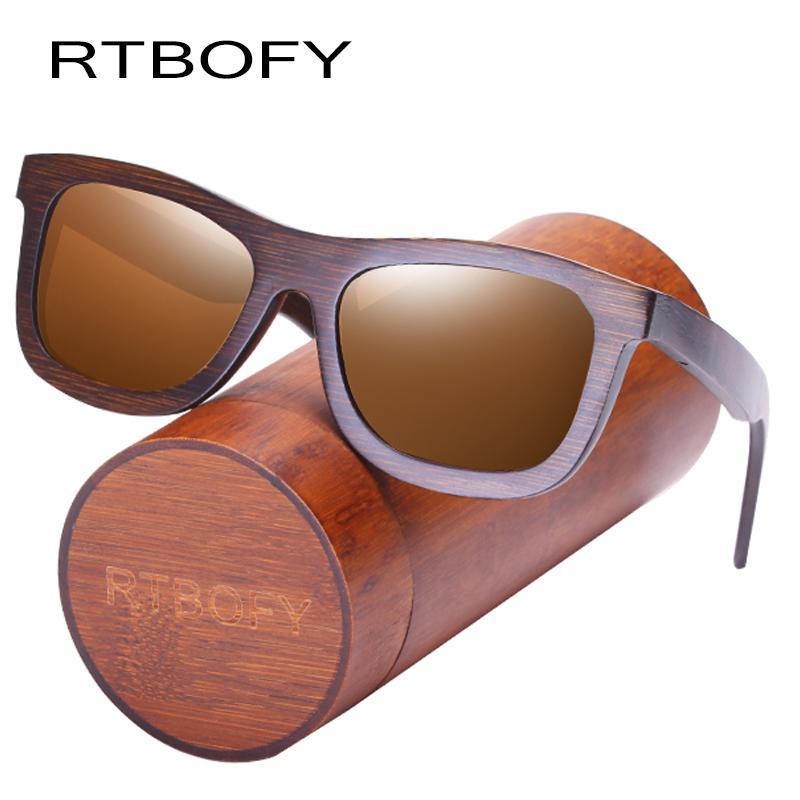 4288c028a6b20 Compre RTBOFY Óculos De Sol De Madeira Para Homens Mulheres Lentes  Polarizadas Óculos De Armação De Bambu Eyeglasse Projeto Do Vintage Shades  Proteção UV400 ...