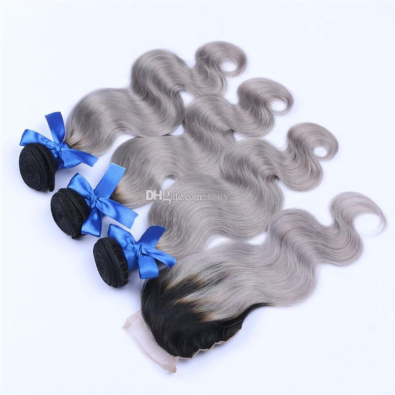 Ombre Gray Virgin Hair Bundles with Lace Closure Two Tone 1B Grey Ombre Body Wave Human Hair Weaves with Top Closure