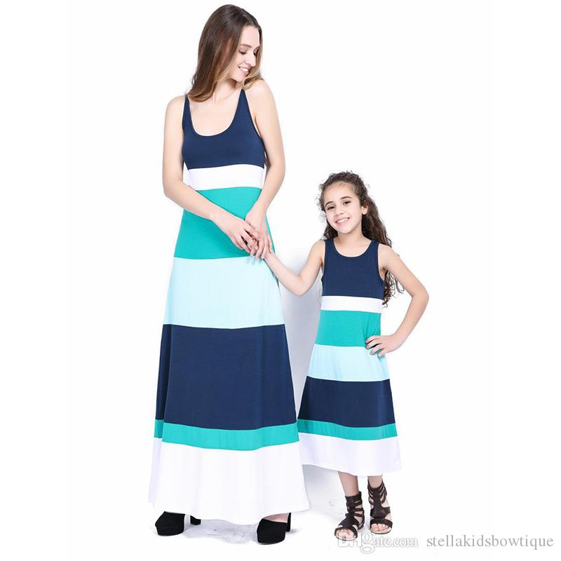Mommy and Me Family Matching Suspender Dresses Fashion Striped Sleeveless Dresss for Mom and Daughter Kids Parent Child Outfits Familylook
