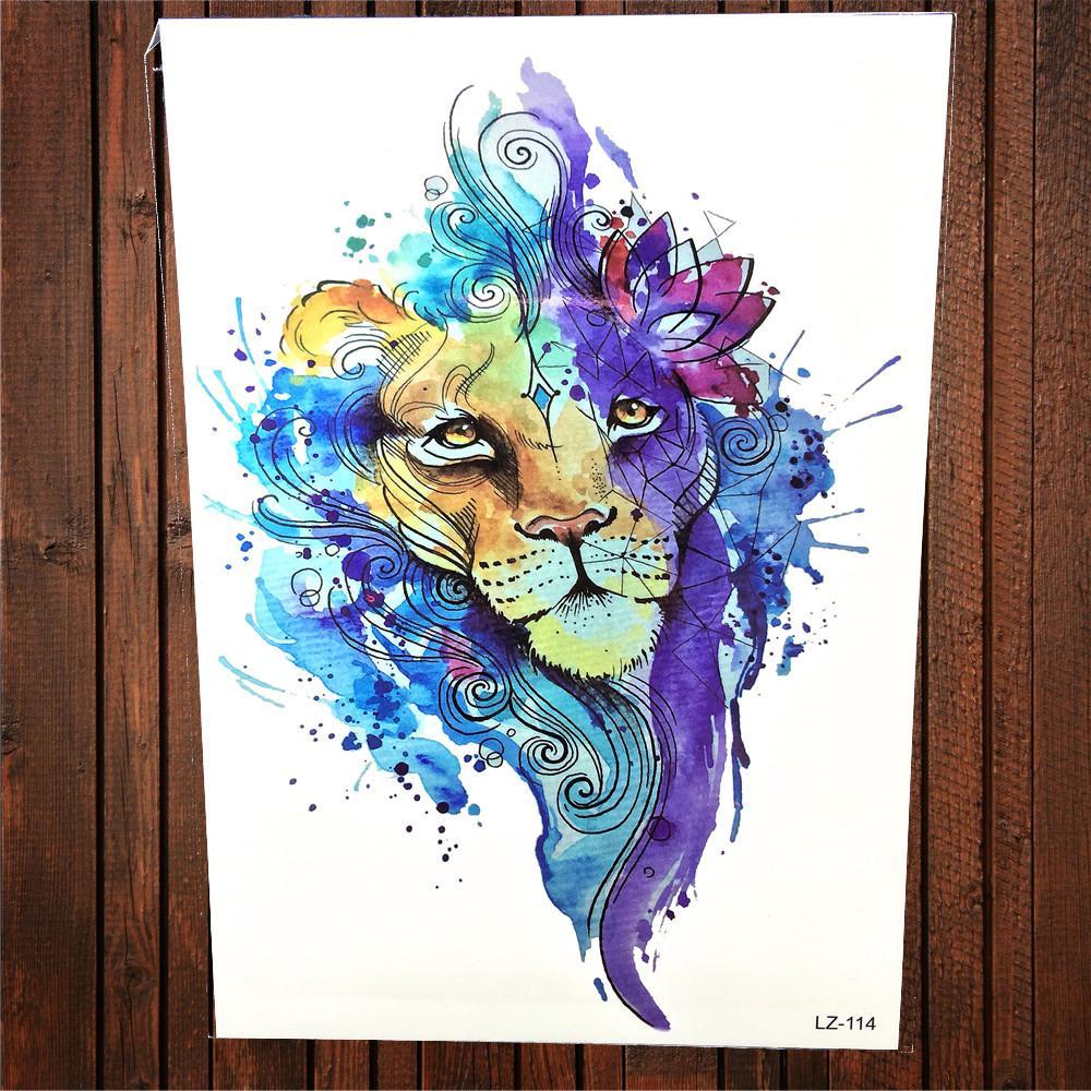 Acheter Mode Aquarelle Geometrique Lion Impermeable A L Eau