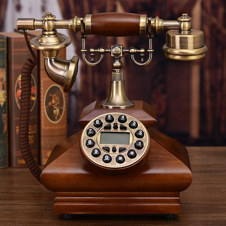 European Retro Telephone Old Fashioned Home Antique Solid Wood