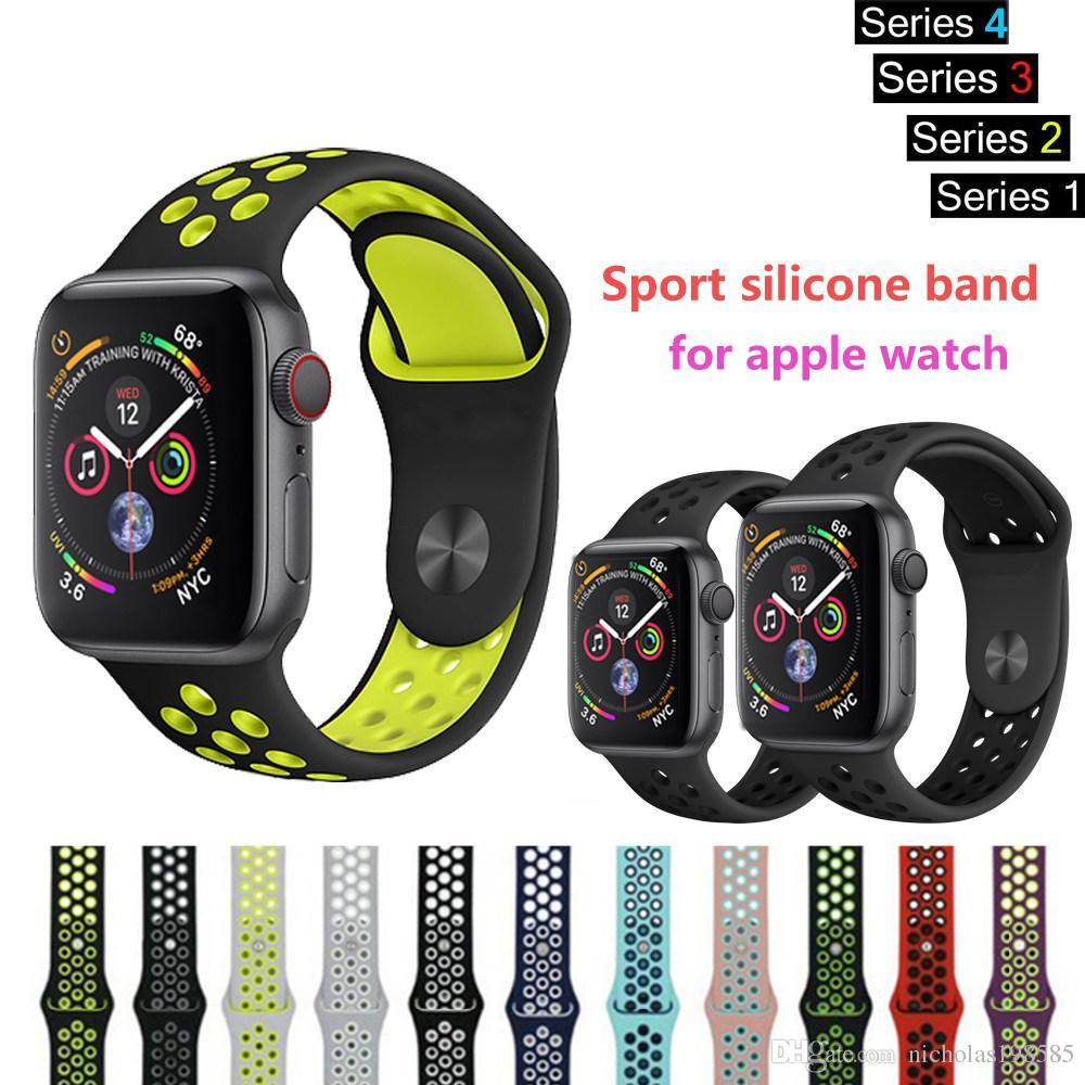 a6e08877624 Compre Esporte Faixa De Pulso Para Apple Watch Series 4 3 2 1 42mm 38mm  Iwatch Silicone Strap 44mm 40mm Pulseira Pulseira Cinto Correa NK Dupla Cor  De ...